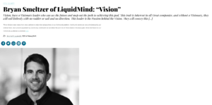 """THRIVE GLOBAL MAGAZINE INTERVIEW: """"VISION"""""""